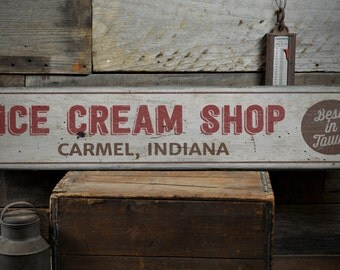 Ice Cream Shop Wood Sign, Custom Best In Town Sweet Treat Location Gift, Kitchen Decor - Rustic Hand Made Vintage Wooden Sign ENS1001599