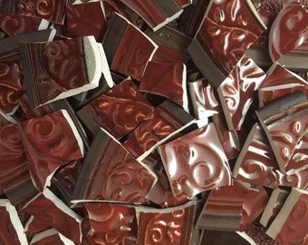 Mosaic Tiles Broken Plates Tesserae Art Supply Hand Cut Texture Red Scroll Floral Mix 100