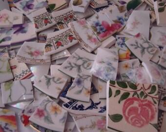 Mosaic Supplies Tiles Broken Plates Tesserae Art Hand Cut 1000 Piece Lot Mix Flowers Vintage Artsy Set lot