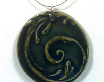 Large Evening Tendril Ceramic Pendant with wire necklace