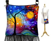 MadArt Hippie Bag Fringe Boho Bag Hobo Purse Handbag Small Cross Body Shoulder Bag  Winter Sparkle  tree moon zipper blue purple red MTO