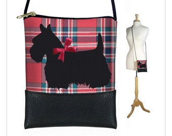 CLEARANCE Mini Cross Body Bag, Shoulder Bag Purse, Smartphone Purse fits iPhone 6 Plus, Scottie Dog, Red Plaid, Scottish Terrier RTS