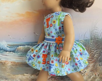 18 Inch Doll Dress Woodland Friends on Blue Background Fits Dolls like AG