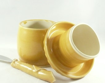 Large French Butter Keeper holds 8 ounces / French Butter Keeper / Yellow Bell ,  Yellow Butter Crock 381