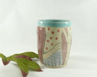 Tumbler or Vase, Toothbrush Holder, Desk Pencil Holder, Desk Accessories Wine Cup pottery and ceramics, Office Accessory  Bathroom Decor 482