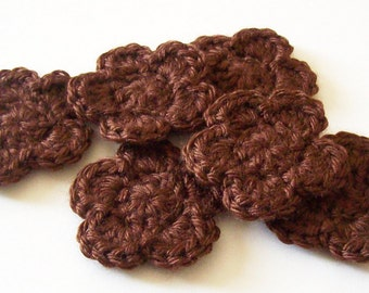 Crochet Flowers Appliques, Chocolate Brown Crochet Appliques, Crochet Flower Embellishment, Scrapbooking, Set of 6, Crochet Flower Motif