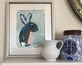 RESERVED original acrylic painting bunny rabbit cottontail spring easter
