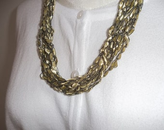 Gold Ribbon Lace Necklace Crochet  Necklace  Trellis Ribbon Lace Fiber  Yarn Necklace