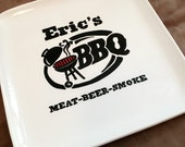 X Large BBQ Ceramic Serving Tray Custom personalized name