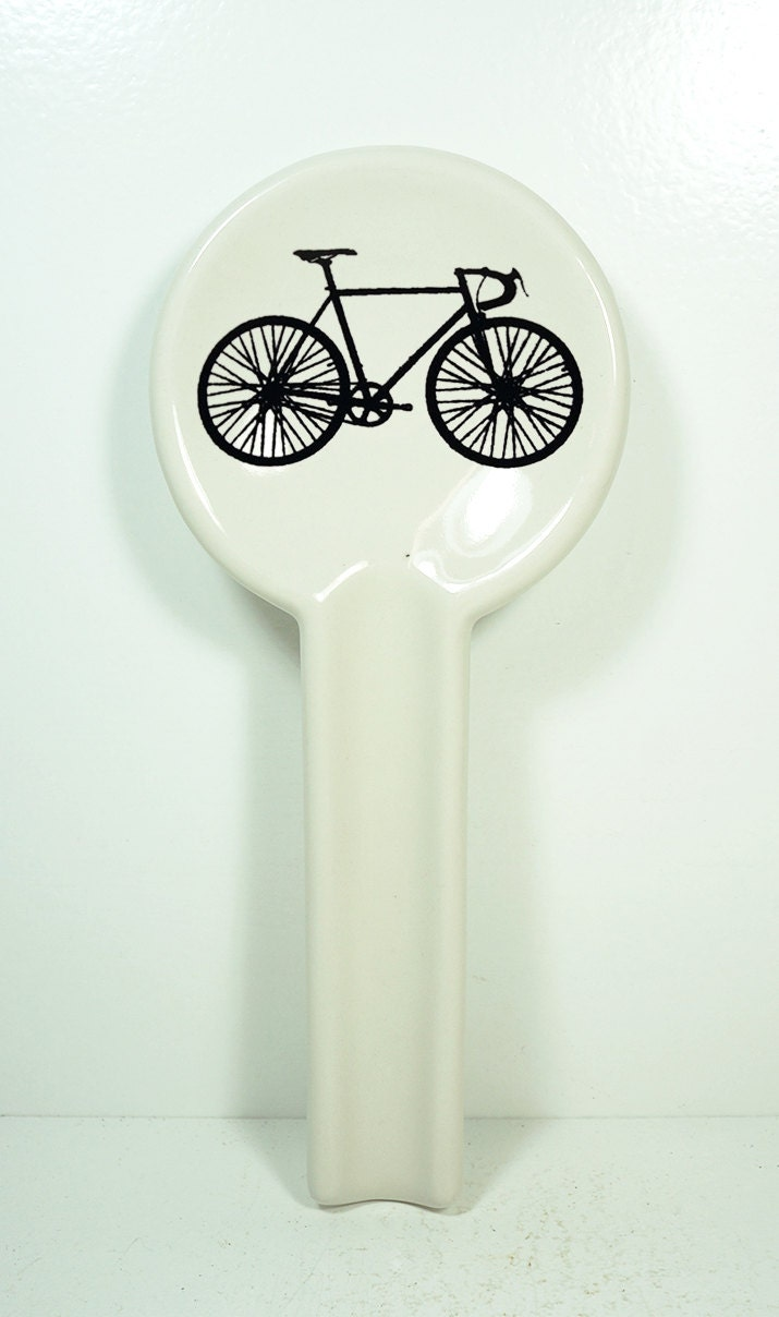 spoon rest with a road bike print, shown on clear natural - Made to Order / Pick Your Colour