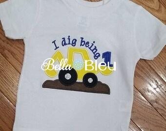 Birthday Shirt, 1st Birthday Shirt, Ready to Ship Digger 1st Birthday Shirt Embroidered  tee shirt Boys Applique
