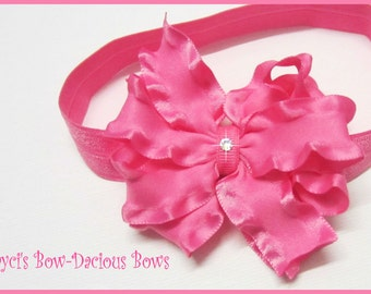 Hot Pink Ruffled Bow Headband - Choose your size