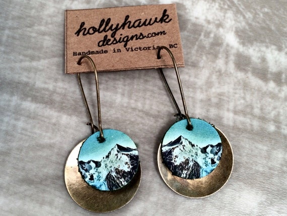 Leather & Antique Brass Earrings with Mountain Digital Photo Print on 100% Genuine Leather