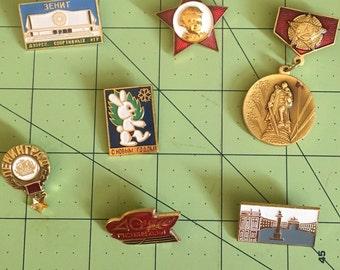 Set of 7 Vintage Soviet Union Souvenir Pins 1985