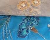 Turquoise  green  fabrics,  embroidered fabrics, beaded fabrics,floral fabrics,  see listing for sizes