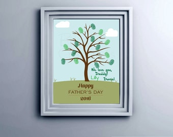Fingerprint Father's Day Printable Tree Wall Art INSTANT Download DIY Printable DIY Father's Day