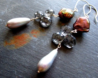PETALS LUXE Gemstone Earrings - Rutilated Quartz - Bronze Silver Pearls - Sterling Silver - Etsy Jewelry - catROCKS - Grace Frankie - glam
