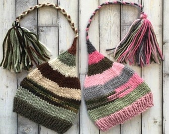 Newborn Boy Girl TWiN Camo Hats BaBY PHoTO PRoPs Brown Green Grey Pink Stripe FCN Stocking Caps TAiL TaSSeL Beanies Coordinating Toques RTS