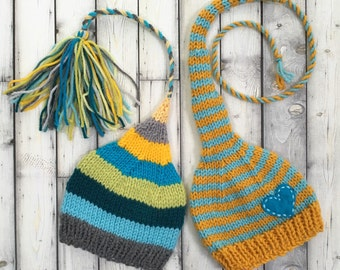 Unisex Newborn Baby TWiN HaTs Boy Girl PHoTo PRoP FCN Tassel Beanie & Heart Stocking Cap Teal Gold Grey Lime Stripe Coordinating Toques