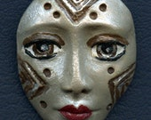Polymer Clay One of a Kind  Spirit Doll Abstract Textured  Face Cab  UnDrilled TRI 8