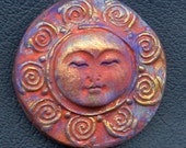 Polymer Clay Abstract  Moon Cab   Terra Cotta Purple Gold  TCSN 1