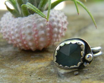 Natural Aquamarine Ring - sterling silver - Rose Cut - Size 5