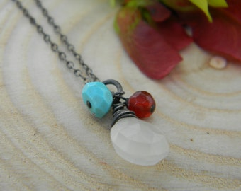 SALE Moonglow Necklace - white moonstone, deep carnelian and turquoise - oxidized silver