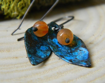 beautiful copper leaf earrings with blue patina and carnelian - oxidized silver