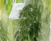 "MarmeeCraft woodland art print, ""A Rather Mysterious Visitor"""