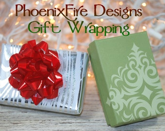 Gift Wrapping with Sage Green Damask Box Silver Metallic Foil Wood Grain Faux bois Paper and Matching Bow Ready to Give Gift for Her