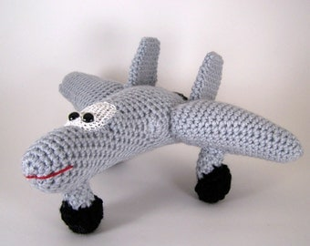 f 35 aircraft ,  Crocheted Amigurumi Military f 35 aircraft , stuffed airplane toy  MADE TO ORDER