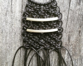 Boho macrame pride necklace in brown and gold