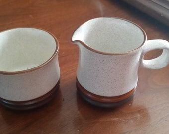 Denby stoneware rust vintage cream and suger