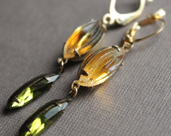 Autumn Marquis Earrings - Glass - Brass - Gold Plated Leverback Earwires