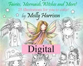 Printable Digital Download - Whimsical World #2 Coloring Book by Molly Harrison - Sweet Fairies, Mermaids, Witches and Angels