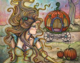 Cinderella - Original Watercolor and Mixed Media Painting by Molly Harrison - Fairy tale art, fantasy, pumpkins, fall, princess