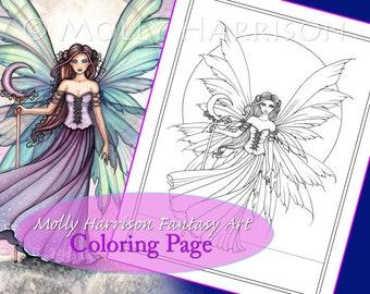 Spring Dream - Coloring Page - Printable - Fantasy Fairy Art - Molly Harrison Fantasy Art - Digistamp - Digi Stamp, fairies, faery