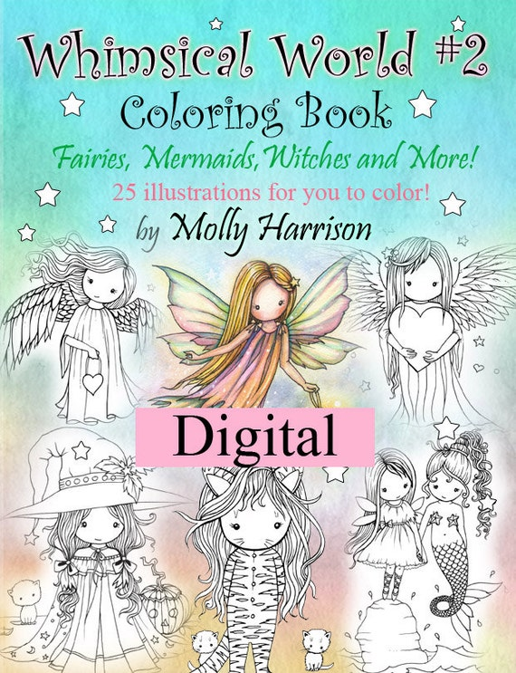 Printable Digital Download Whimsical World 2 Coloring Book