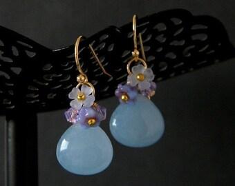 SALE Pale Blue Jade Violet Swarovski Flower Earrings