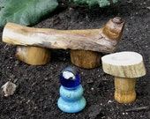 Miniature Rustic Bench, Stool, and Gazing Ball
