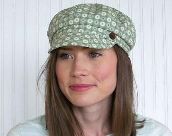 Womens Cotton Hat Newsboy Hat Aqua, Brown and Ivory Newsboy Cap Womens Hat - M