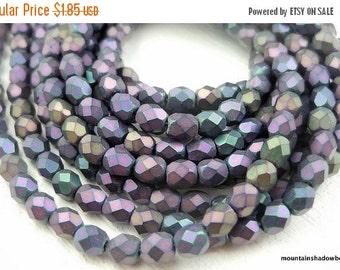 25% OFF Summer Sale Czech 4mm Beads  - Matte Purple Iris Czech Glass Beads Faceted Firepolished Faceted Round Beads - 50 pcs (G - 15)