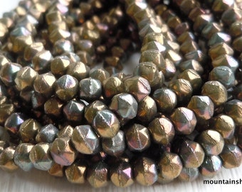 3mm English Cut Beads - Oxidized Bronze Clay - Czech Glass Beads - 50 pcs (SP - 3)
