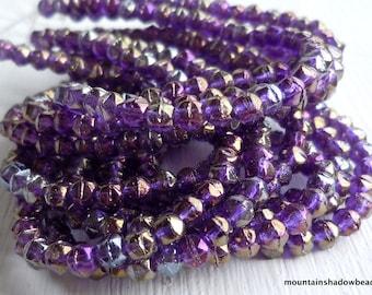 3mm English Cut Beads - Tanzanite Luster Iris - Czech Glass Beads - 50 pcs (SP - 32)