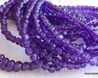 3mm English Cut Beads - Tanzanite - Czech Glass Beads - 50 pcs