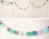 Extra Long Scrap Fabric Flag Bunting Garland - Over 10 feet - blue, gray, teal