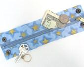 "Money Wrist  Cuff - ""Secret Stash""- ""Shooting Stars""  hide your cash, key, jewels, etc in a hidden inside zipper"