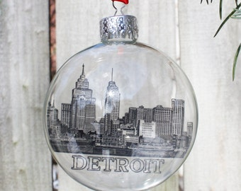 Vintage Detroit Skyline Ornament