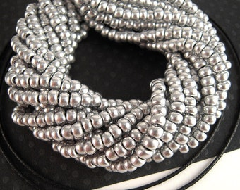 Metallic Silver Seed Beads, 6/0, 2 FULL Strands, Silver Czech Glass, Industrial Silver, Brushed Silver Seedbeads SB077