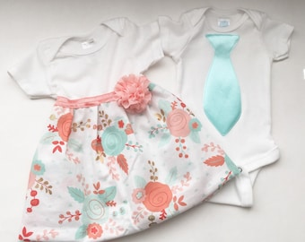 Boutique SIBLING SET..Brother sister outfits ..one piece DRESS and tie T- shirt -- shsbby chic coral and aqua